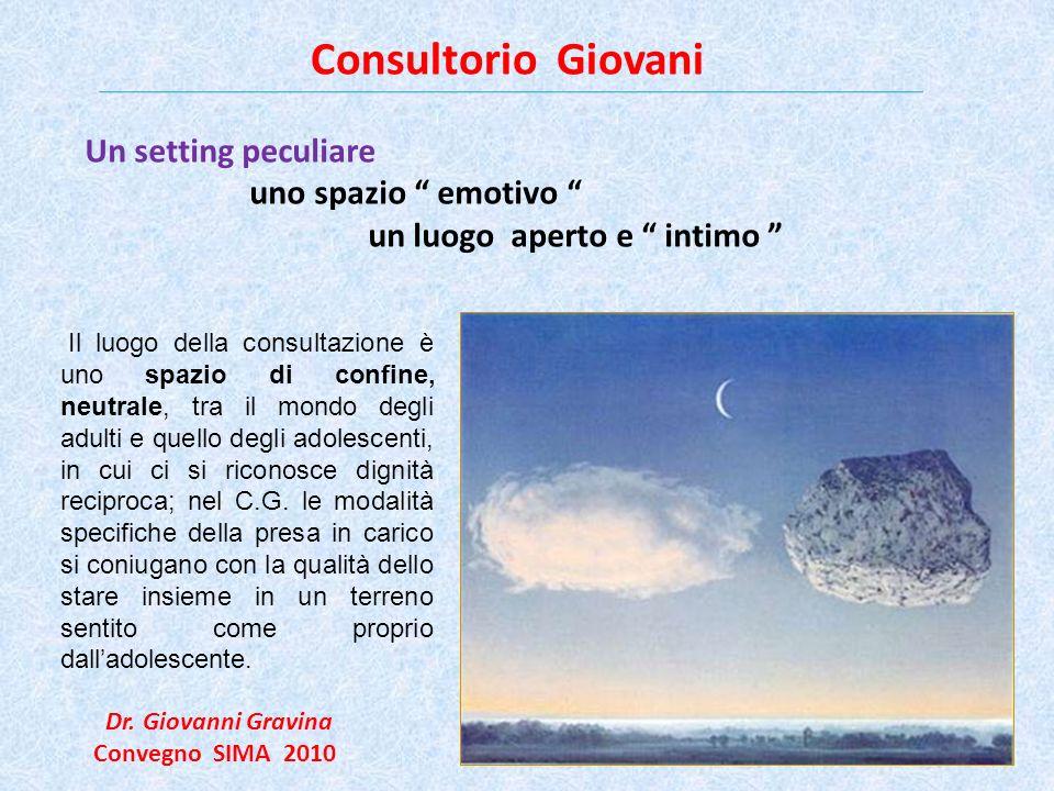 Consultorio Giovani Dr. Giovanni Gravina Convegno SIMA 2010 ASL 5 Pisa Un setting peculiare uno spazio emotivo un luogo aperto e intimo Il luogo della