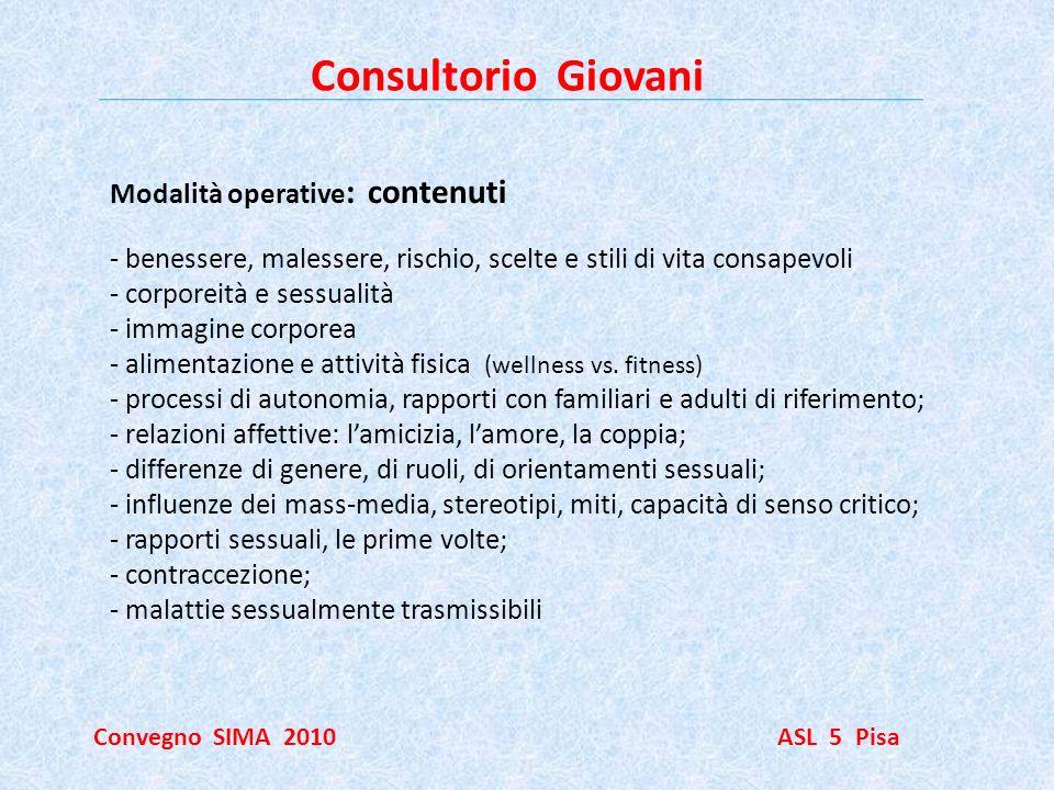 Consultorio Giovani Convegno SIMA 2010 ASL 5 Pisa Modalità operative : contenuti - benessere, malessere, rischio, scelte e stili di vita consapevoli -