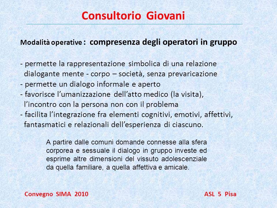 Consultorio Giovani Convegno SIMA 2010 ASL 5 Pisa Modalità operative : compresenza degli operatori in gruppo - permette la rappresentazione simbolica
