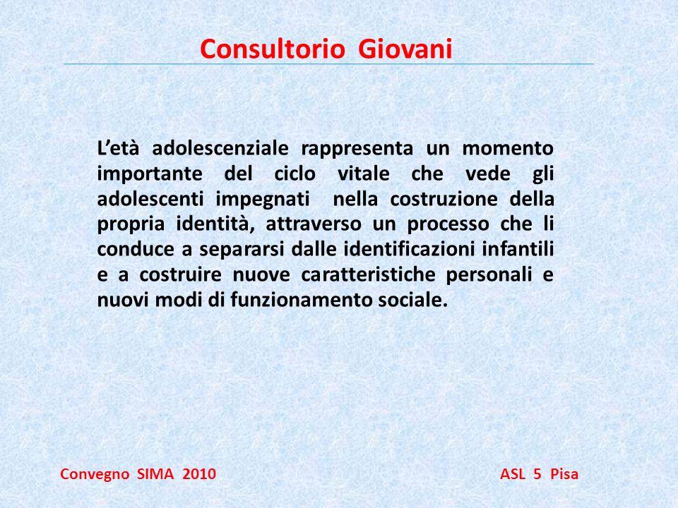 Consultorio Giovani Convegno SIMA 2010 ASL 5 Pisa Letà adolescenziale rappresenta un momento importante del ciclo vitale che vede gli adolescenti impe