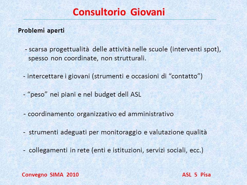 Consultorio Giovani Convegno SIMA 2010 ASL 5 Pisa Problemi aperti - scarsa progettualità delle attività nelle scuole (interventi spot), spesso non coo