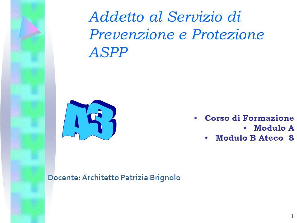 1 Addetto al Servizio di Prevenzione e Protezione ASPP Corso di Formazione Modulo A Modulo B Ateco 8 Docente: Architetto Patrizia Brignolo