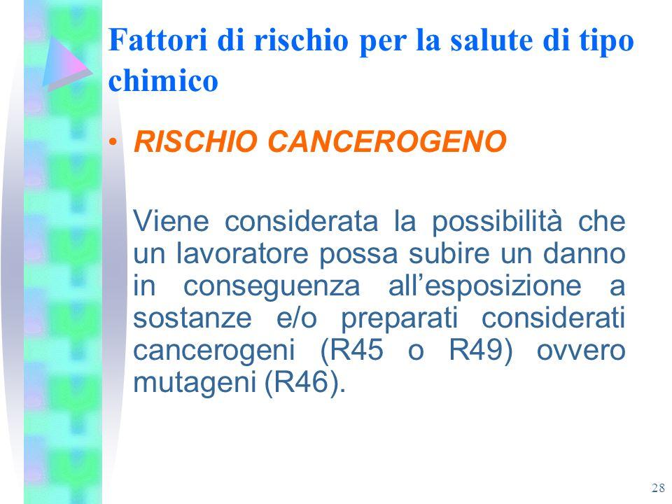 28 Fattori di rischio per la salute di tipo chimico RISCHIO CANCEROGENO Viene considerata la possibilità che un lavoratore possa subire un danno in co
