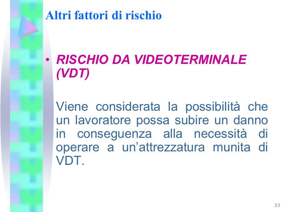 33 Altri fattori di rischio RISCHIO DA VIDEOTERMINALE (VDT) Viene considerata la possibilità che un lavoratore possa subire un danno in conseguenza al