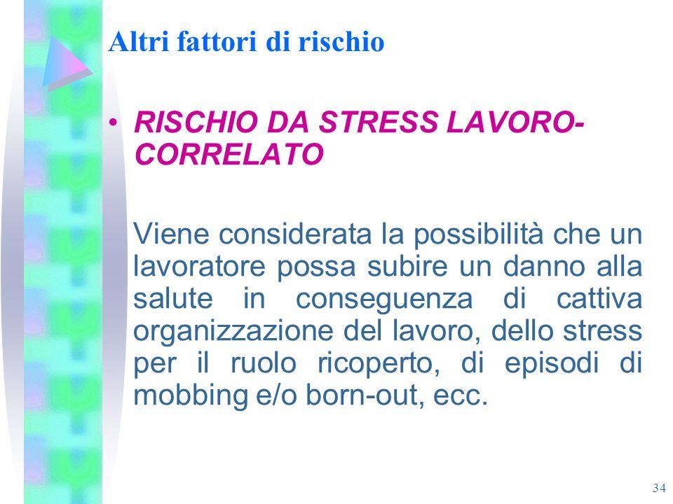 34 Altri fattori di rischio RISCHIO DA STRESS LAVORO- CORRELATO Viene considerata la possibilità che un lavoratore possa subire un danno alla salute i