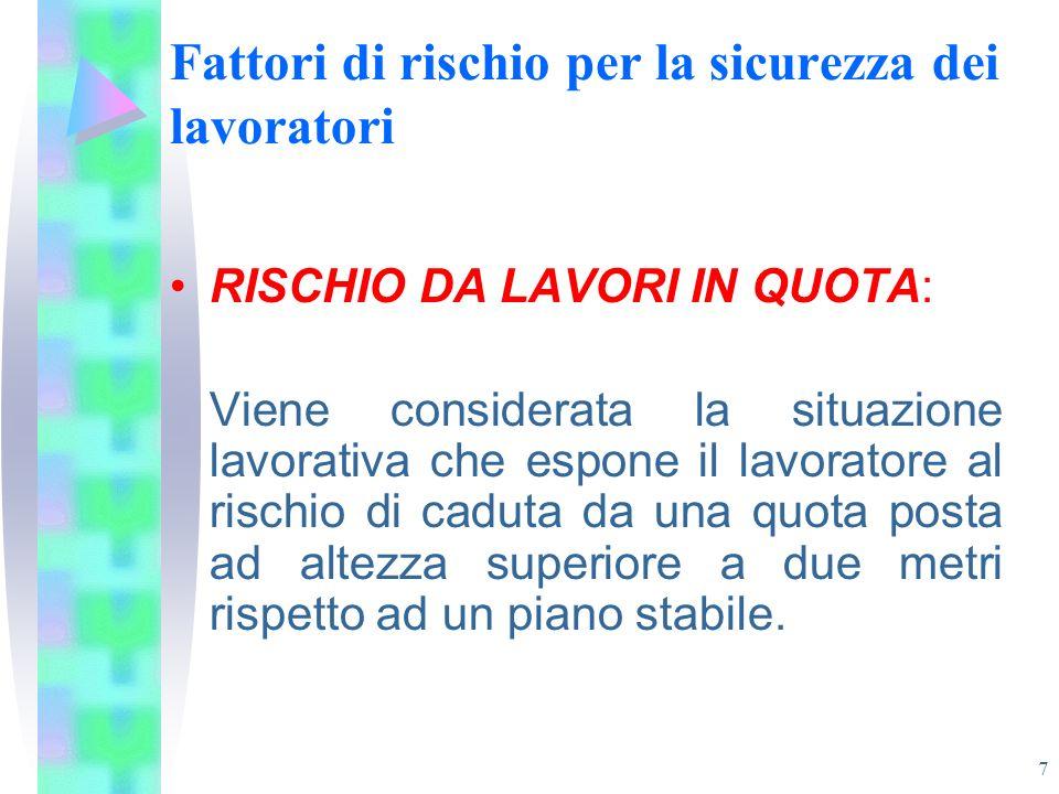 7 Fattori di rischio per la sicurezza dei lavoratori RISCHIO DA LAVORI IN QUOTA: Viene considerata la situazione lavorativa che espone il lavoratore a