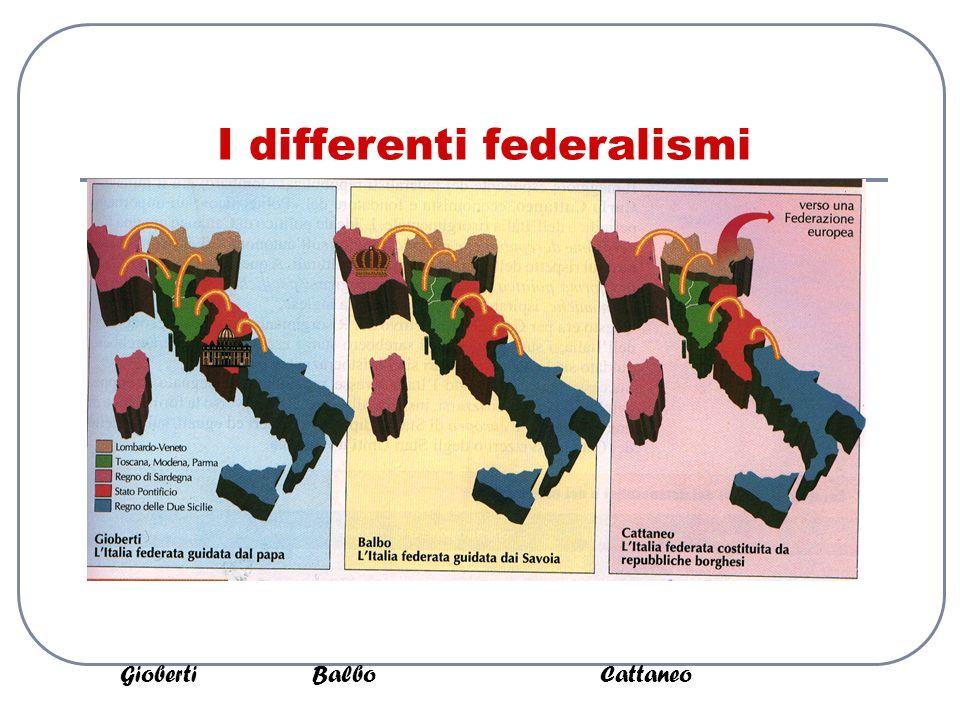 I differenti federalismi GiobertiBalboCattaneo