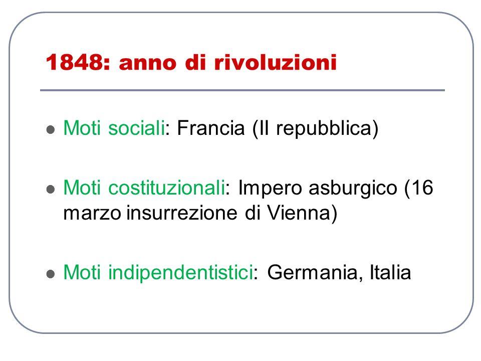 1848: anno di rivoluzioni Moti sociali: Francia (II repubblica) Moti costituzionali: Impero asburgico (16 marzo insurrezione di Vienna) Moti indipende