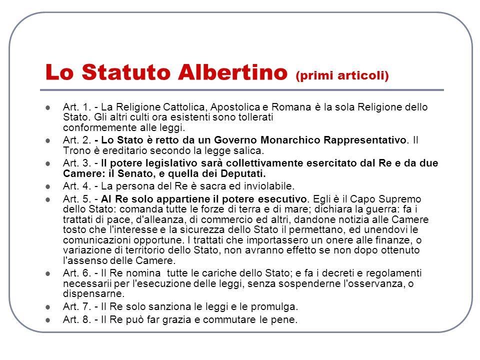Lo Statuto Albertino (primi articoli) Art. 1. - La Religione Cattolica, Apostolica e Romana è la sola Religione dello Stato. Gli altri culti ora esist