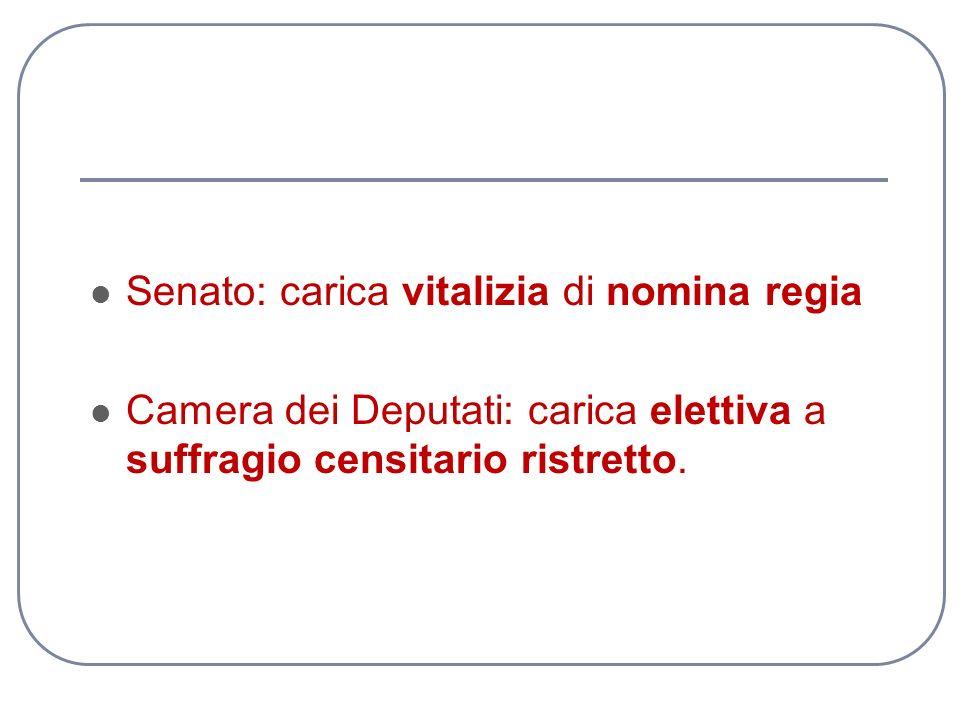 Senato: carica vitalizia di nomina regia Camera dei Deputati: carica elettiva a suffragio censitario ristretto.