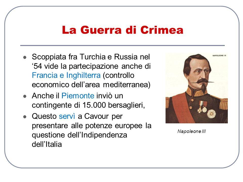 La Guerra di Crimea Scoppiata fra Turchia e Russia nel 54 vide la partecipazione anche di Francia e Inghilterra (controllo economico dellarea mediterr
