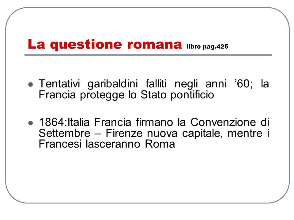 La questione romana libro pag.425 Tentativi garibaldini falliti negli anni 60; la Francia protegge lo Stato pontificio 1864:Italia Francia firmano la