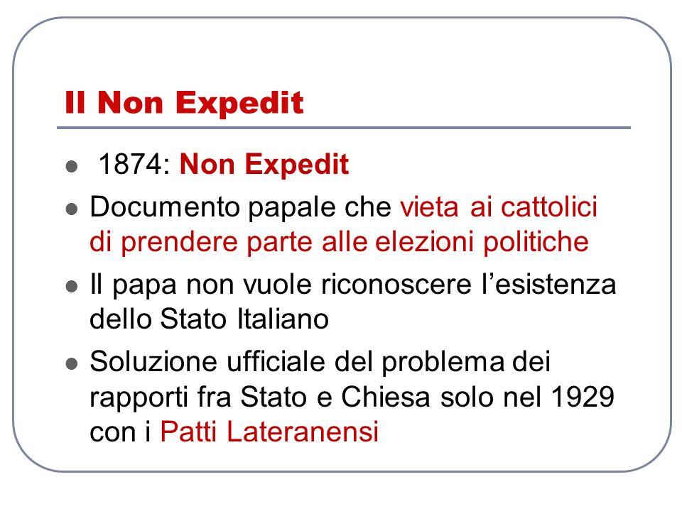 Il Non Expedit 1874: Non Expedit Documento papale che vieta ai cattolici di prendere parte alle elezioni politiche Il papa non vuole riconoscere lesis