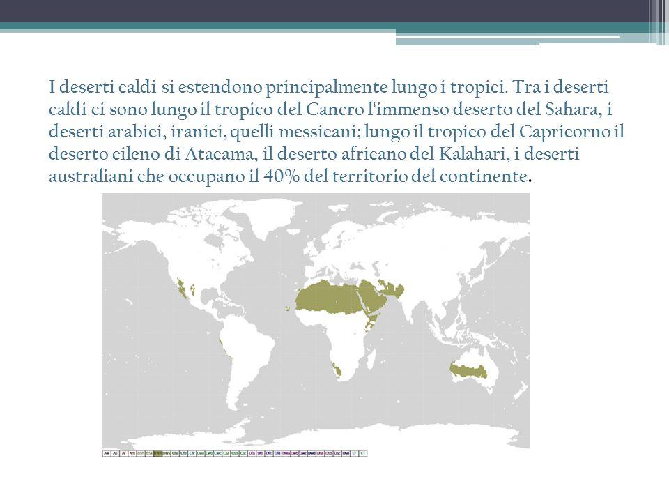 I deserti caldi si estendono principalmente lungo i tropici. Tra i deserti caldi ci sono lungo il tropico del Cancro l'immenso deserto del Sahara, i d