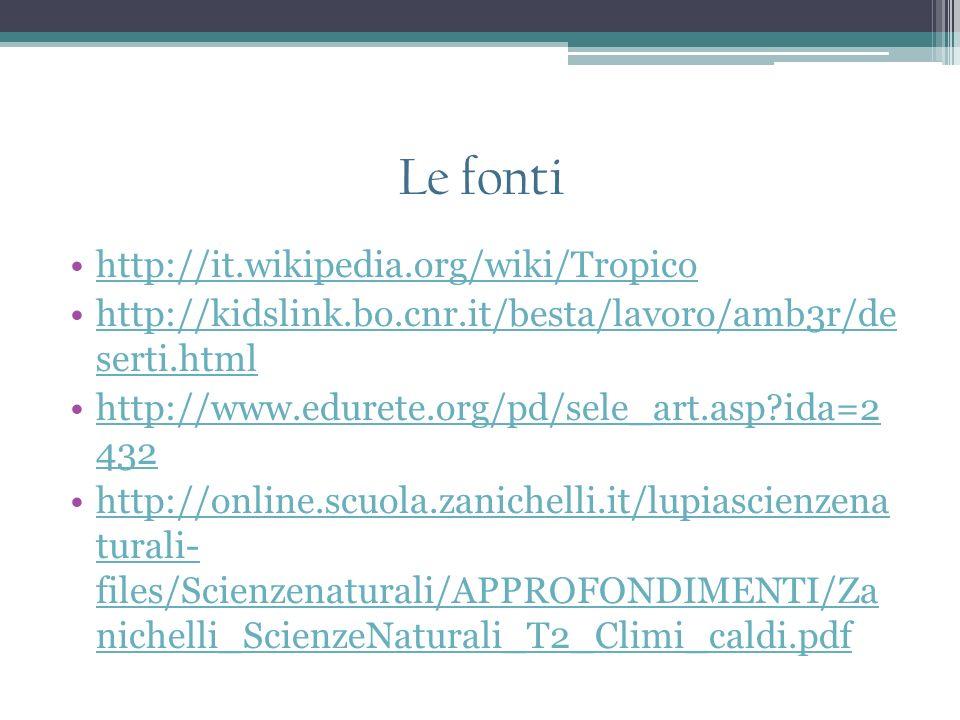 Le fonti http://it.wikipedia.org/wiki/Tropico http://kidslink.bo.cnr.it/besta/lavoro/amb3r/de serti.htmlhttp://kidslink.bo.cnr.it/besta/lavoro/amb3r/d