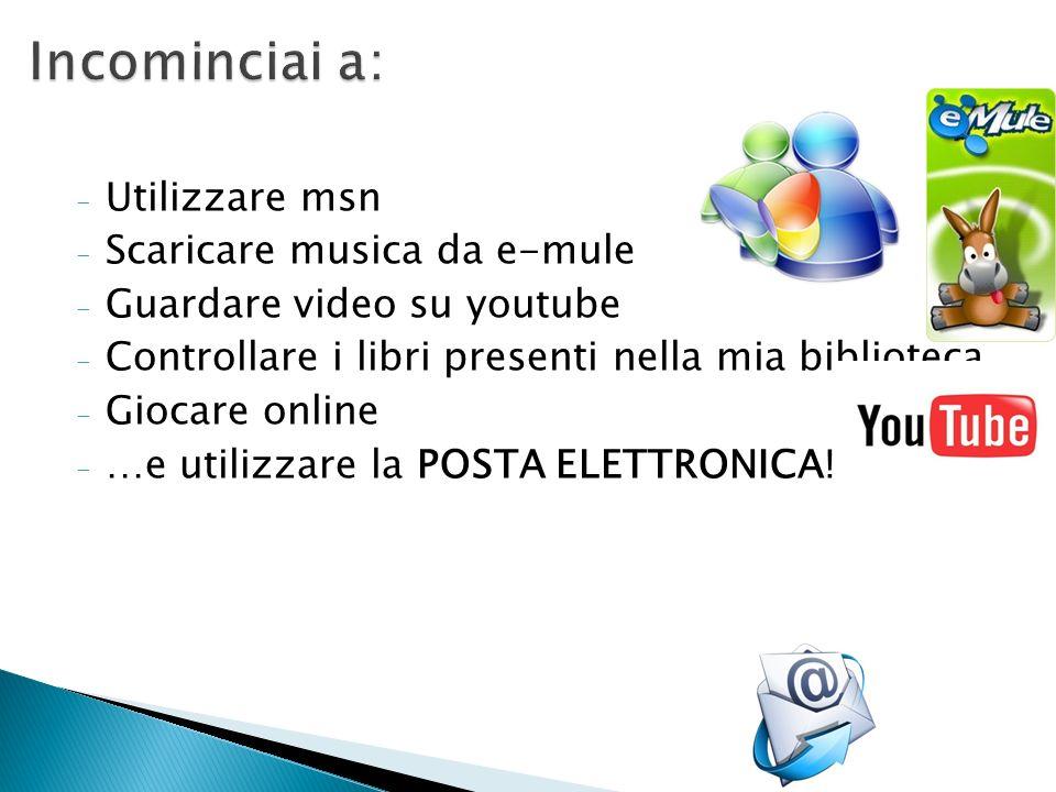 - Utilizzare msn - Scaricare musica da e-mule - Guardare video su youtube - Controllare i libri presenti nella mia biblioteca - Giocare online - …e ut