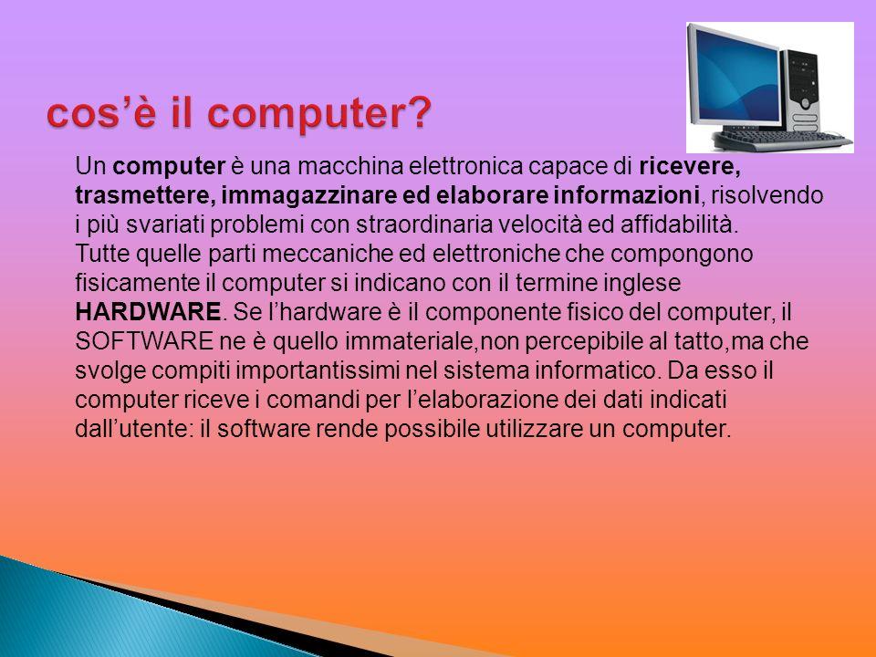 Un computer è una macchina elettronica capace di ricevere, trasmettere, immagazzinare ed elaborare informazioni, risolvendo i più svariati problemi co