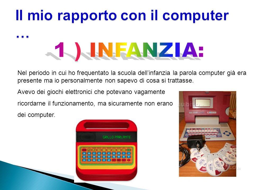 Nel periodo in cui ho frequentato la scuola dellinfanzia la parola computer già era presente ma io personalmente non sapevo di cosa si trattasse. Avev