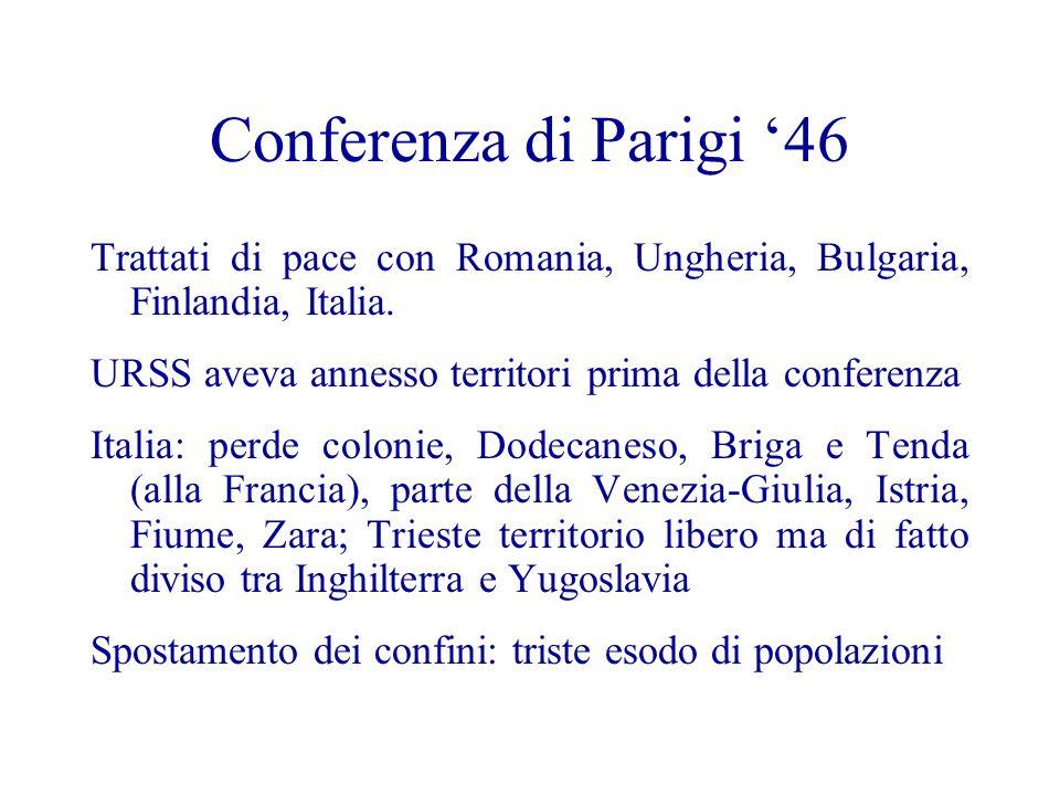 Conferenza di Parigi 46 Trattati di pace con Romania, Ungheria, Bulgaria, Finlandia, Italia. URSS aveva annesso territori prima della conferenza Itali