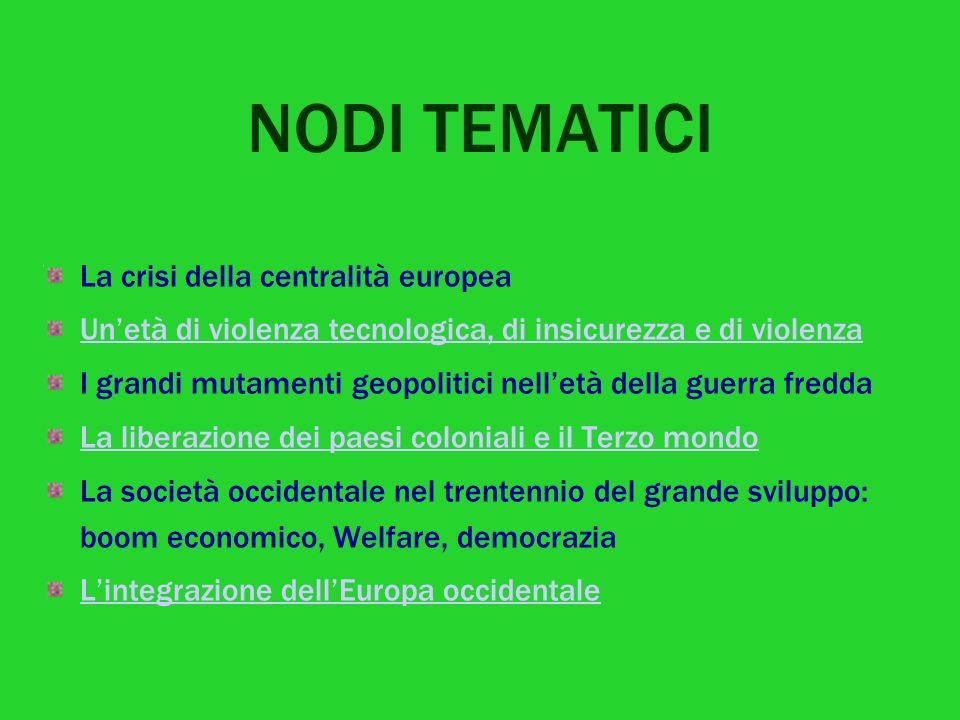 NODI TEMATICI La crisi della centralità europea Unetà di violenza tecnologica, di insicurezza e di violenza I grandi mutamenti geopolitici nelletà del