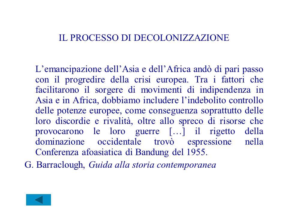 IL PROCESSO DI DECOLONIZZAZIONE Lemancipazione dellAsia e dellAfrica andò di pari passo con il progredire della crisi europea. Tra i fattori che facil