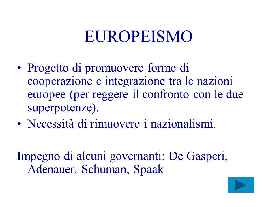 EUROPEISMO Progetto di promuovere forme di cooperazione e integrazione tra le nazioni europee (per reggere il confronto con le due superpotenze). Nece
