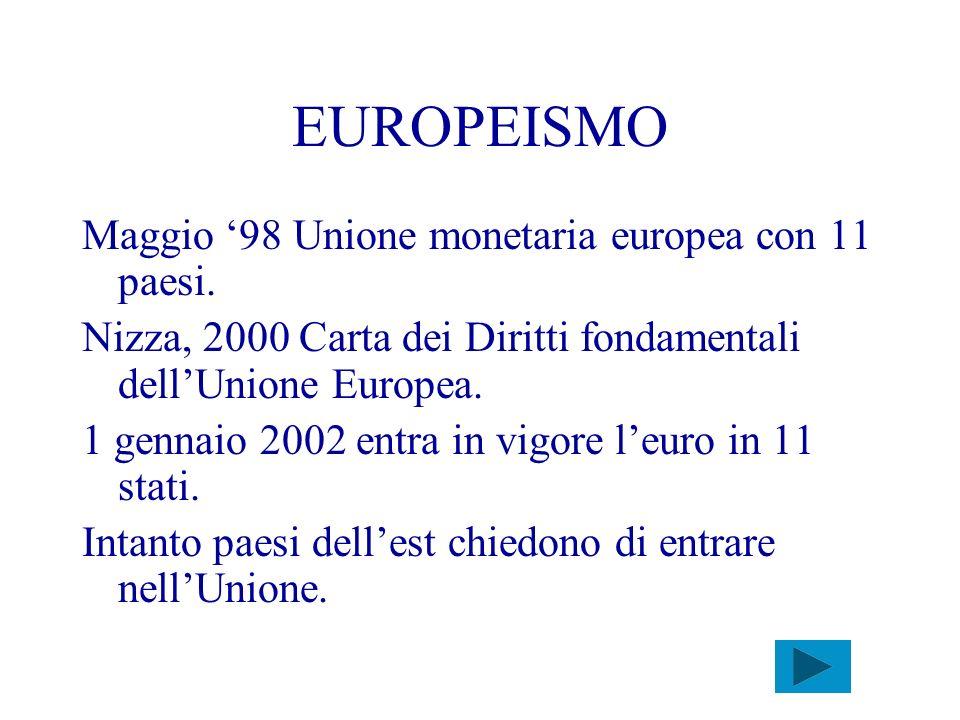 EUROPEISMO Maggio 98 Unione monetaria europea con 11 paesi. Nizza, 2000 Carta dei Diritti fondamentali dellUnione Europea. 1 gennaio 2002 entra in vig