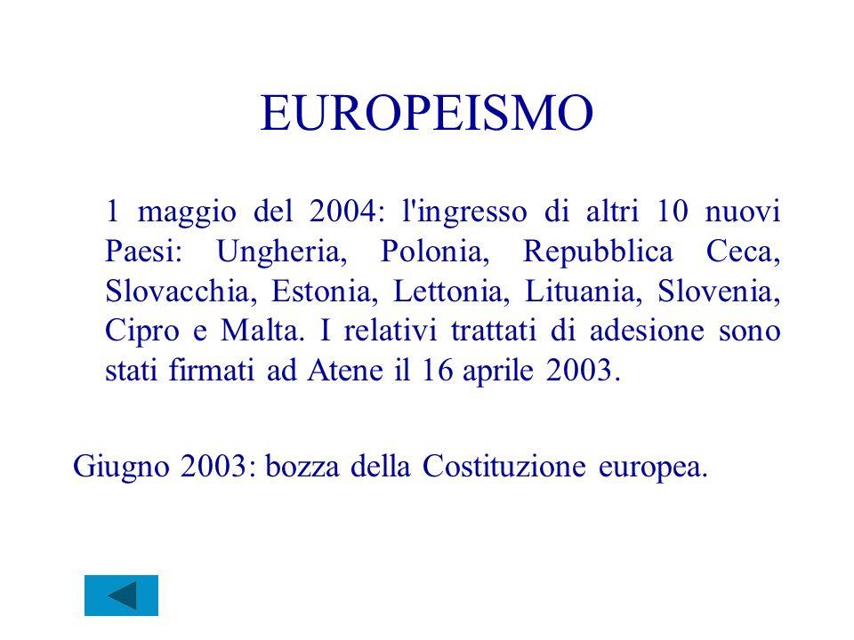 EUROPEISMO 1 maggio del 2004: l'ingresso di altri 10 nuovi Paesi: Ungheria, Polonia, Repubblica Ceca, Slovacchia, Estonia, Lettonia, Lituania, Sloveni