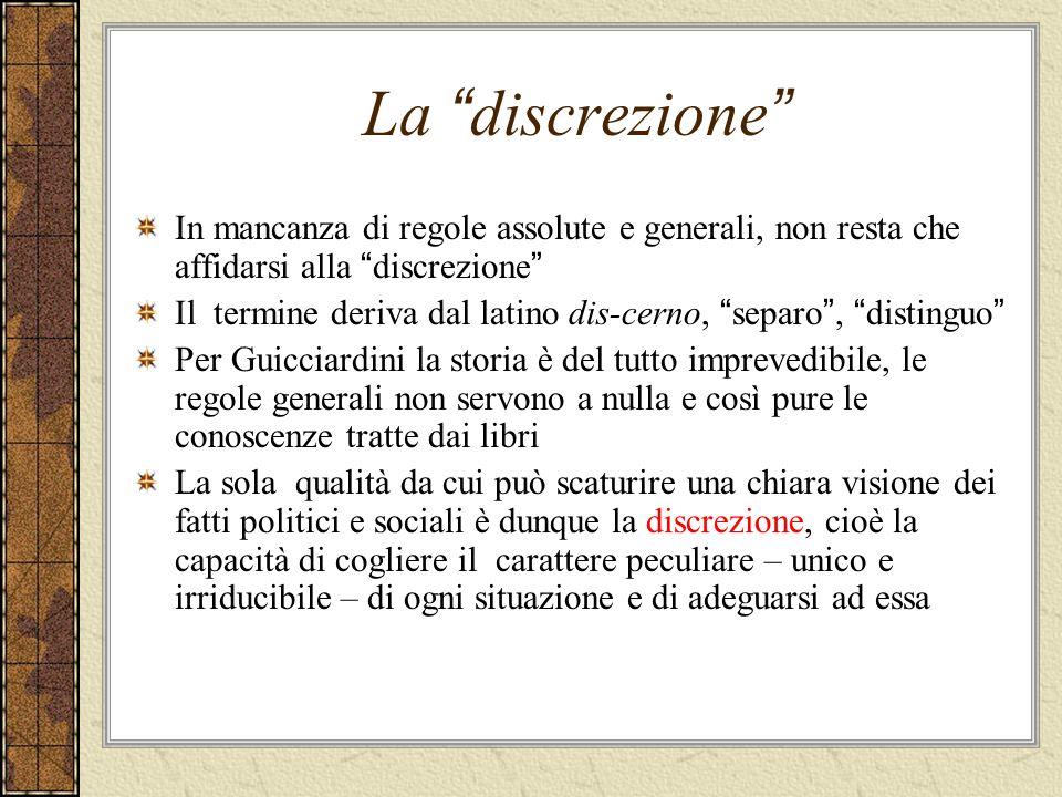 La discrezione In mancanza di regole assolute e generali, non resta che affidarsi alla discrezione Il termine deriva dal latino dis-cerno, separo, dis