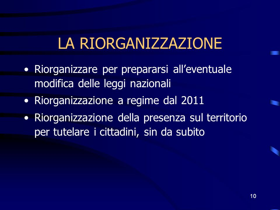 10 LA RIORGANIZZAZIONE Riorganizzare per prepararsi alleventuale modifica delle leggi nazionali Riorganizzazione a regime dal 2011 Riorganizzazione della presenza sul territorio per tutelare i cittadini, sin da subito