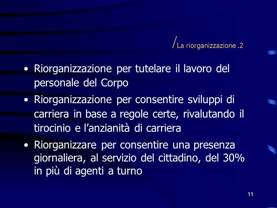 11 / La riorganizzazione.2 Riorganizzazione per tutelare il lavoro del personale del Corpo Riorganizzazione per consentire sviluppi di carriera in bas