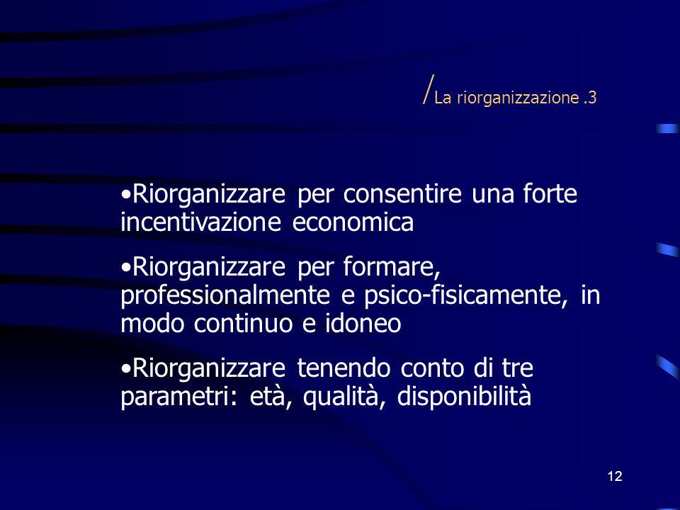 12 / La riorganizzazione.3 Riorganizzare per consentire una forte incentivazione economica Riorganizzare per formare, professionalmente e psico-fisica