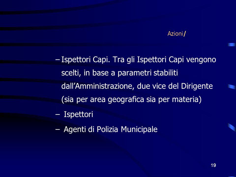 19 Azioni/ –Ispettori Capi.