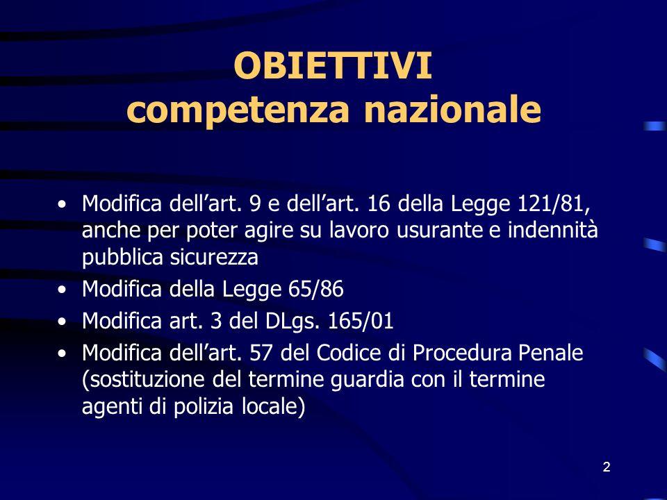 2 OBIETTIVI competenza nazionale Modifica dellart. 9 e dellart. 16 della Legge 121/81, anche per poter agire su lavoro usurante e indennità pubblica s