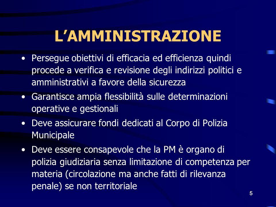 6 LAmministrazione/ Deve essere consapevole che la PM espleta servizi di pubblica sicurezza (art.