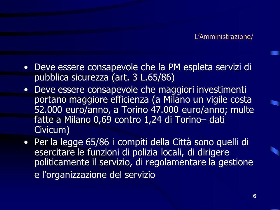 6 LAmministrazione/ Deve essere consapevole che la PM espleta servizi di pubblica sicurezza (art. 3 L.65/86) Deve essere consapevole che maggiori inve