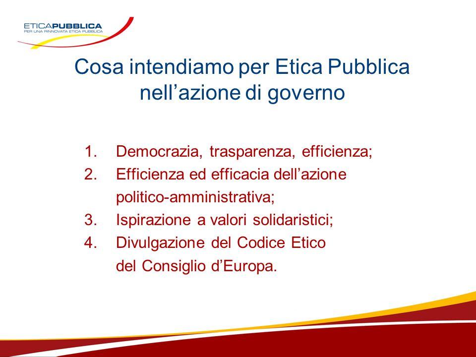 Cosa intendiamo per Etica Pubblica nellazione di governo 1.Democrazia, trasparenza, efficienza; 2.Efficienza ed efficacia dellazione politico-amministrativa; 3.Ispirazione a valori solidaristici; 4.Divulgazione del Codice Etico del Consiglio dEuropa.