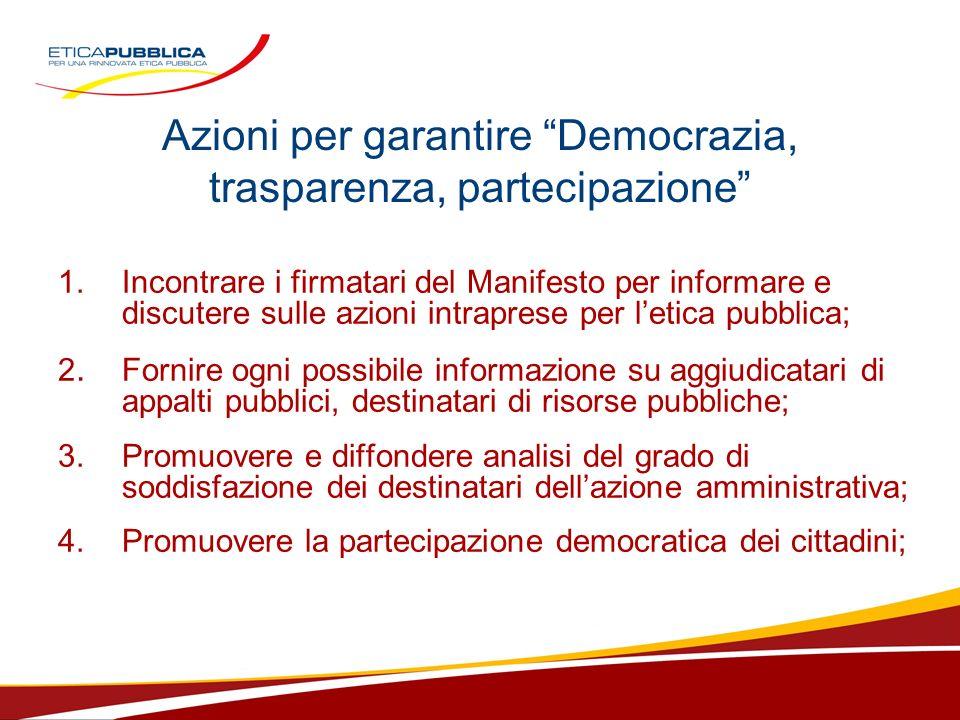 Azioni per garantire Democrazia, trasparenza, partecipazione 1.Incontrare i firmatari del Manifesto per informare e discutere sulle azioni intraprese per letica pubblica; 2.