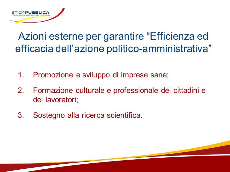 Azioni esterne per garantire Efficienza ed efficacia dellazione politico-amministrativa 1.Promozione e sviluppo di imprese sane; 2. Formazione cultura