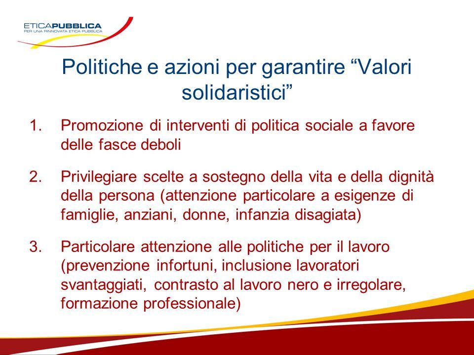 Politiche e azioni per garantire Valori solidaristici 1.Promozione di interventi di politica sociale a favore delle fasce deboli 2. Privilegiare scelt
