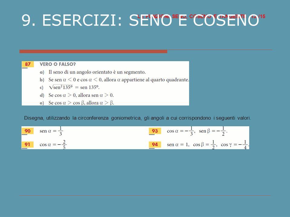 LE FUNZIONI SENO, COSENO E TANGENTE /15 13 9.