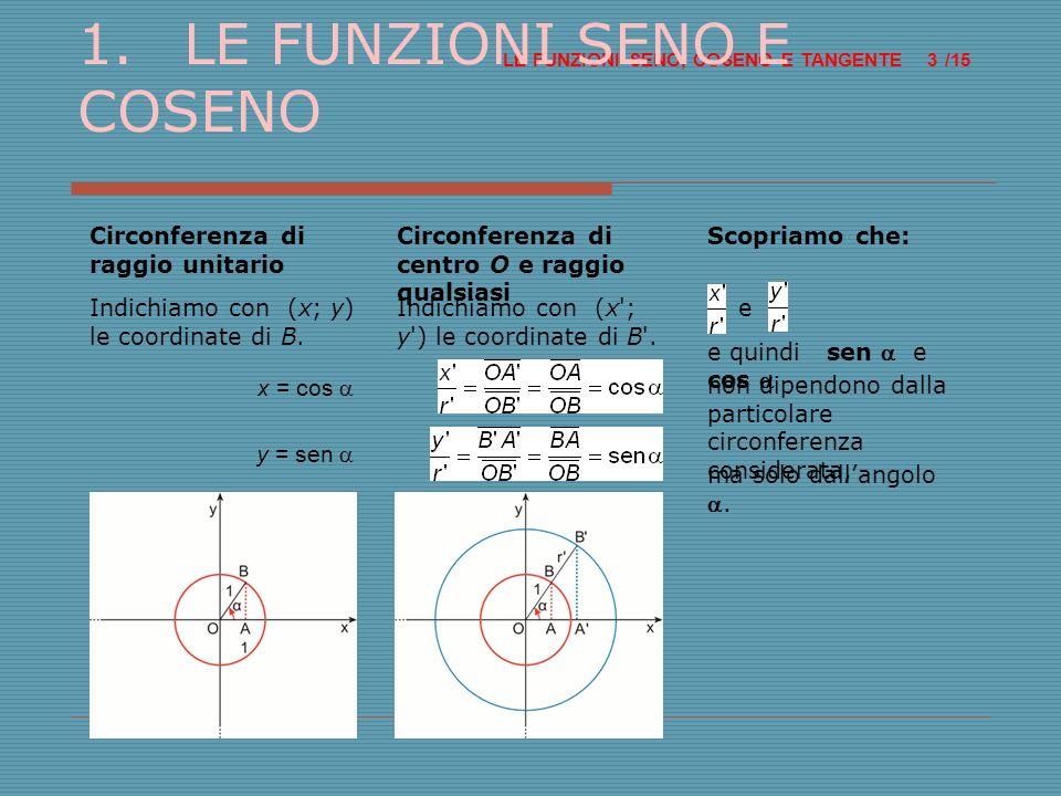 LE FUNZIONI SENO, COSENO E TANGENTE /15 14 9.