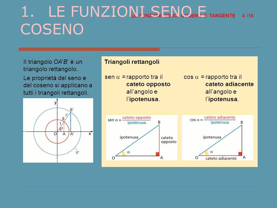 Triangoli rettangoli cos =rapporto tra il cateto adiacente allangolo e lipotenusa.