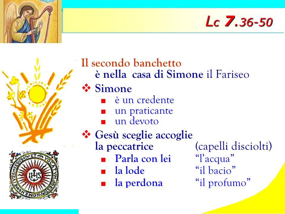 L c 7. 36-50 Il secondo banchetto è nella casa di Simone il Fariseo Simone è un credente un praticante un devoto Gesù sceglie accoglie la peccatrice(