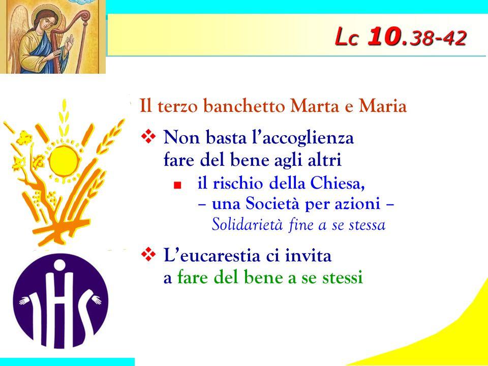 L c 10. 38-42 Il terzo banchetto Marta e Maria Non basta laccoglienza fare del bene agli altri il rischio della Chiesa, – una Società per azioni – Sol