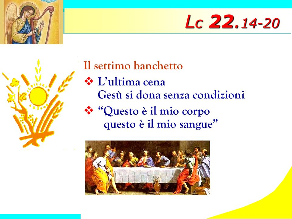 L c 22. 14-20 Il settimo banchetto Lultima cena Gesù si dona senza condizioni Questo è il mio corpo questo è il mio sangue