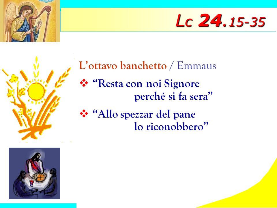 L c 24. 15-35 Lottavo banchetto / Emmaus Resta con noi Signore perché si fa sera Allo spezzar del pane lo riconobbero