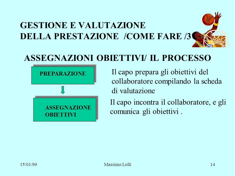 15/01/99Massimo Lolli14 GESTIONE E VALUTAZIONE DELLA PRESTAZIONE /COME FARE /3 ASSEGNAZIONI OBIETTIVI/ IL PROCESSO PREPARAZIONE Il capo prepara gli ob