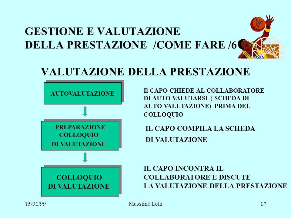 15/01/99Massimo Lolli17 GESTIONE E VALUTAZIONE DELLA PRESTAZIONE /COME FARE /6 VALUTAZIONE DELLA PRESTAZIONE AUTOVALUTAZIONE PREPARAZIONE COLLOQUIO DI
