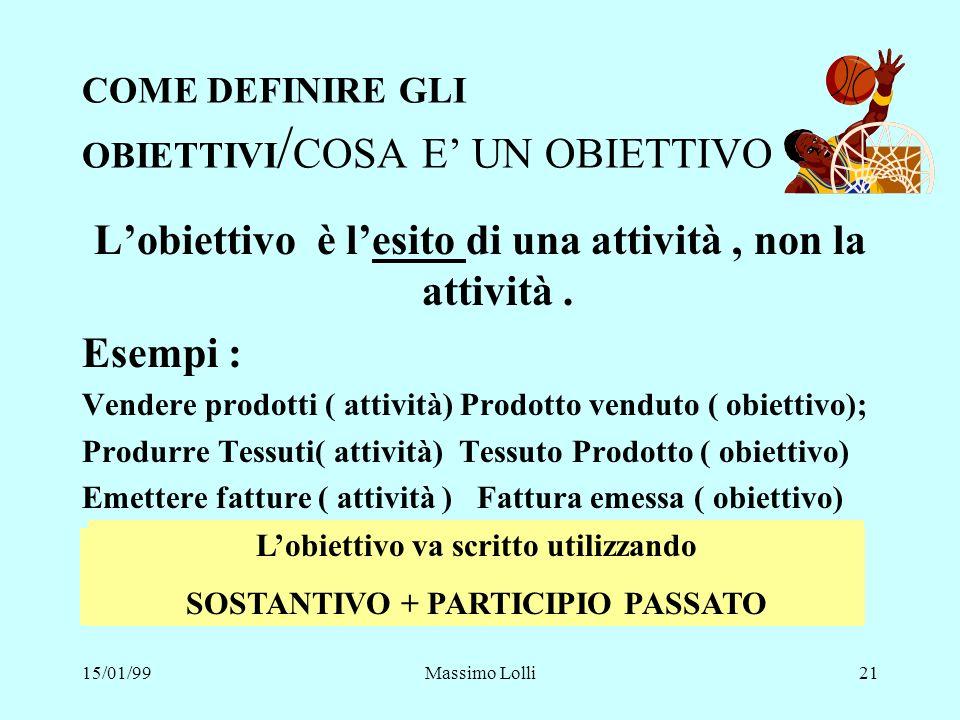 15/01/99Massimo Lolli21 COME DEFINIRE GLI OBIETTIVI / COSA E UN OBIETTIVO Lobiettivo è lesito di una attività, non la attività. Esempi : Vendere prodo